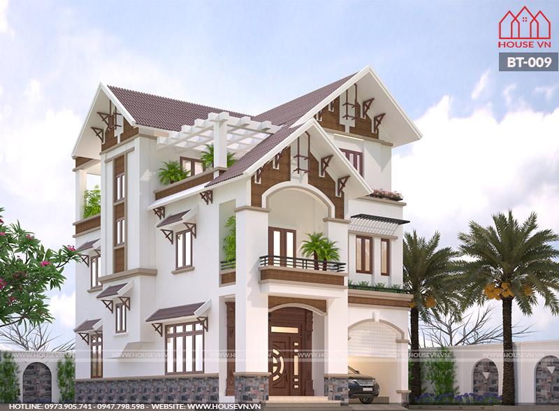 thiết kế kiến trúc biệt thự hiện đại 3 tầng sân vườn đẹp