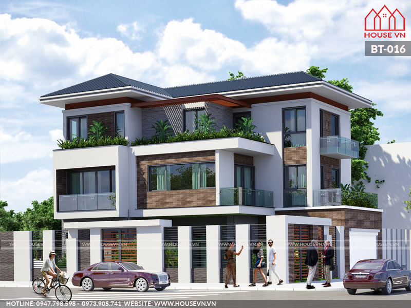Dù ở bất cứ view nào, căn biệt thự 3 tầng cũng nổi bật bởi kiến trúc đặc sắc.