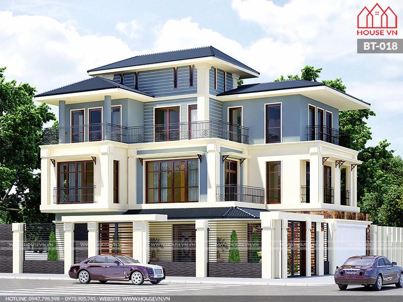 kiến trúc biệt thự hiện đại 3 tầng đẹp