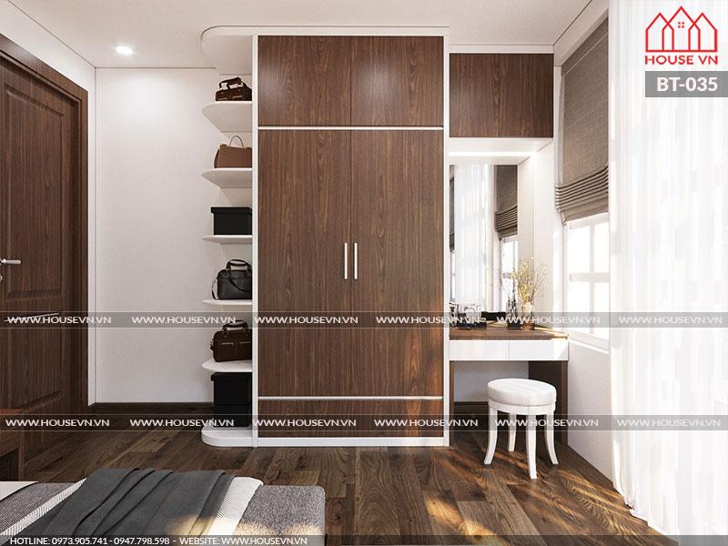 Phương án thiết kế nội thất phòng ngủ hiện đại đẹp được chủ đầu tư hài lòng.