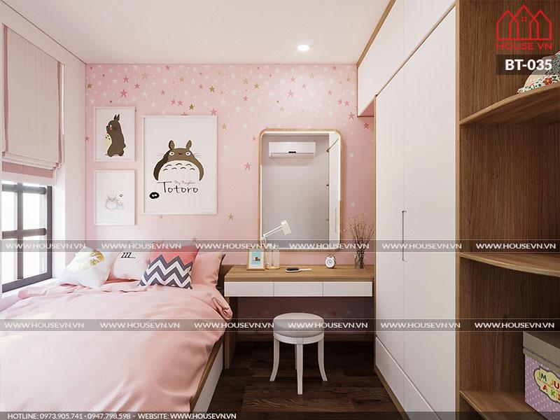 Mẫu thiết kế nội thất phòng ngủ bé gái tận dụng tối đa ánh sáng tự nhiên giúp căn phòng trở nên thoáng mát hơn.