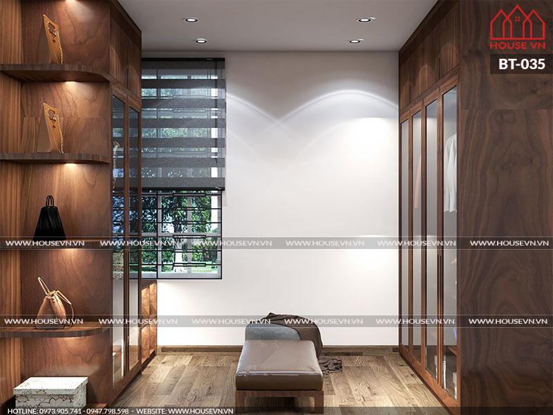 Thiết kế không gian thay đồ riêng biệt trong phòng ngủ đáp ứng yêu cầu của chủ đầu tư.