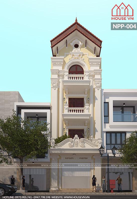 thiết kế nhà ống kiến trúc pháp mái ngói 4 tầng đẹp