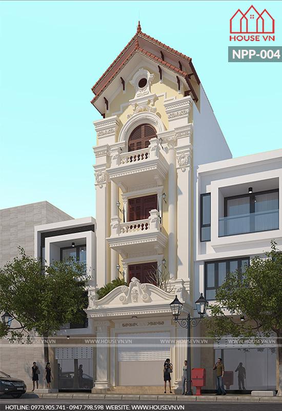 thiết kế kiến trúc nhà ống kiểu pháp mái ngói đẹp nhất