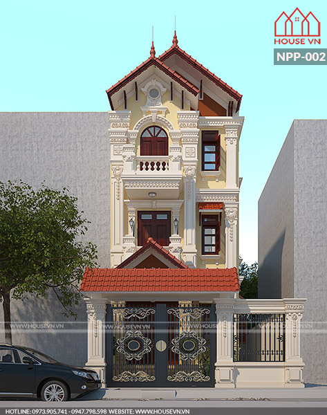 thiết kế kiến trúc nhà ống kiểu pháp mái ngói đẹp