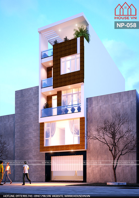 thiết kế nhà ống kiến trúc xanh hiện đại 5 tầng