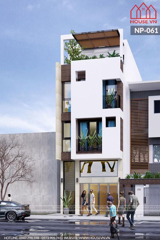 thiết kế nhà phố hiện đại mặt tiền 4m có gara ô tô