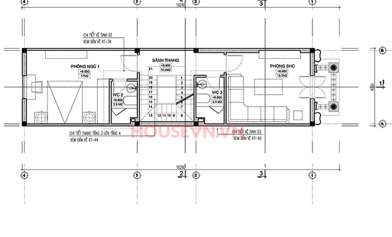 Tầng 3 được thiết kế với 1 phòng ngủ và 1 phòng SHC.