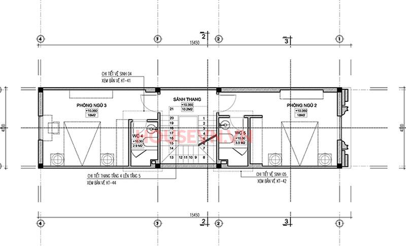 Không gian tầng 3 ấn tượng với sự sắp xếp của 2 phòng ngủ.