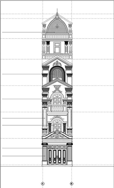 Toàn bộ bản vẽ ấn tượng của mẫu nhà ống 4 tầng.