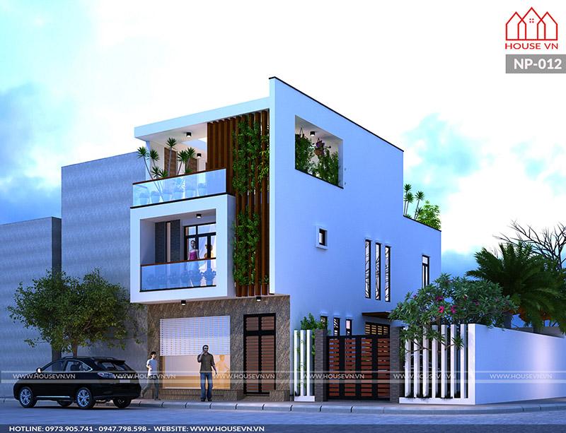 Dù diện tích 60m2 hạn chế, đội ngũ kiến trúc sư vẫn khéo léo thiết kế tạo khoảng xanh riêng biệt cho ngôi nhà.