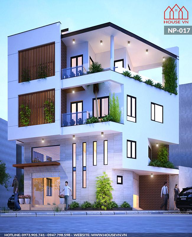 Điểm nhấn đắt giá của mẫu nhà là những khoảng ban công xanh mướt hòa hợp với thiên nhiên.