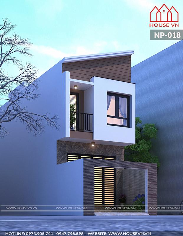 thiết kế nhà ống 2 tầng hiện đại đẹp