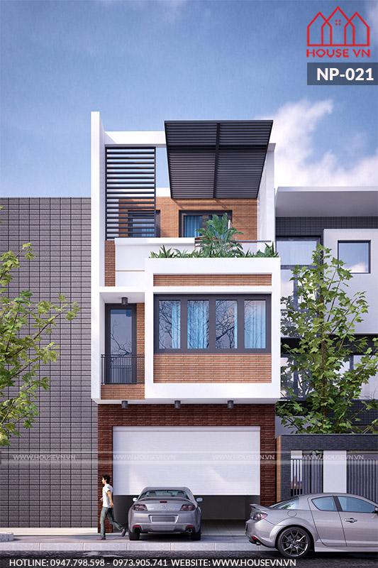 mẫu kiến trúc nhà phố đẹp 3 tầng sang trọng