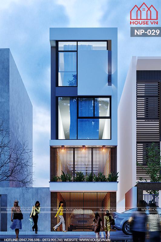 thiết kế kiến trúc mặt tiền nhà phố hiện đại tại hưng yên