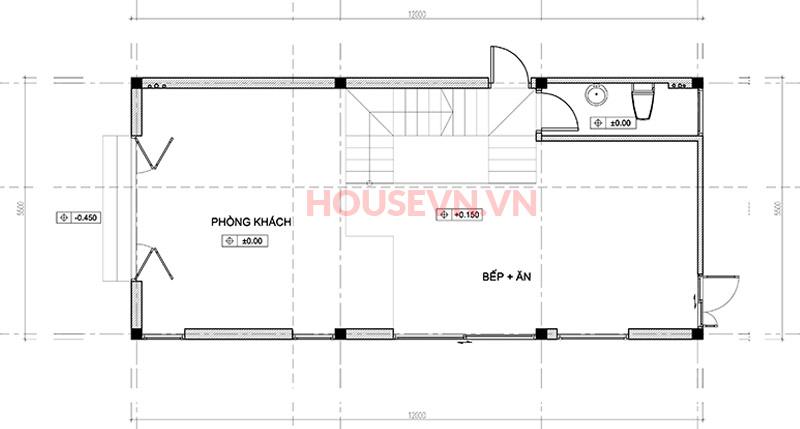 Không gian tầng 1 với phòng bếp+ ăn cùng phòng khách.