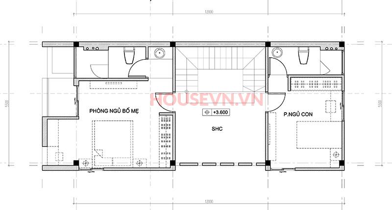 Hai không gian phòng ngủ riêng tư nơi tầng hai.