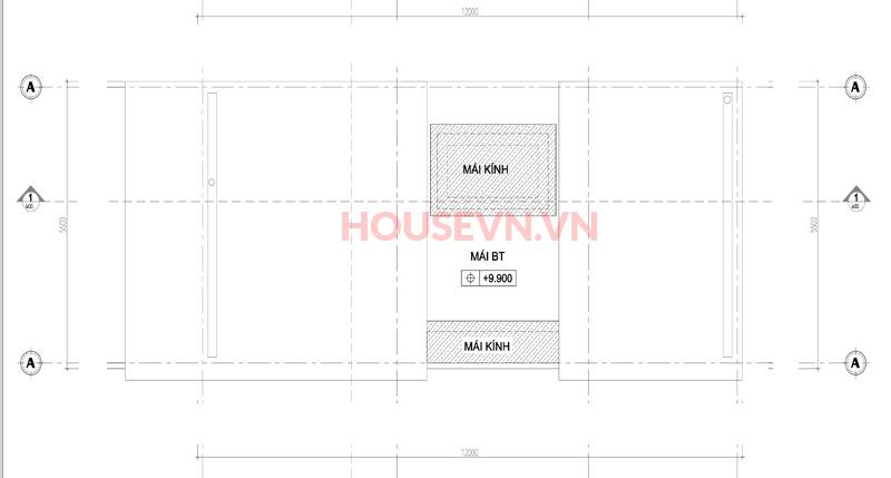 Hình ảnh mặt bằng của ngôi nhà 3 tầng hiện đại.