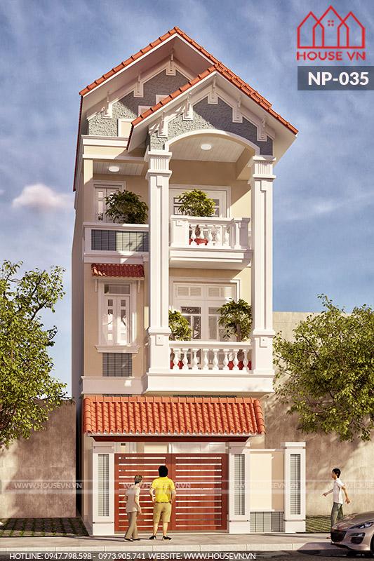 kiến trúc nhà phố 3 tầng mặt tiền 4m kiểu tân cổ điển