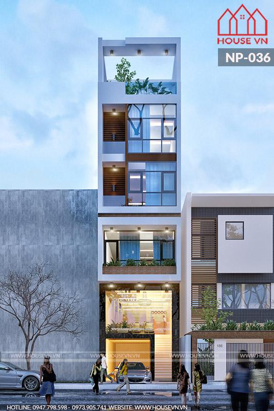 mẫu nhà phố hiện đại có gara để xe tại tầng 1