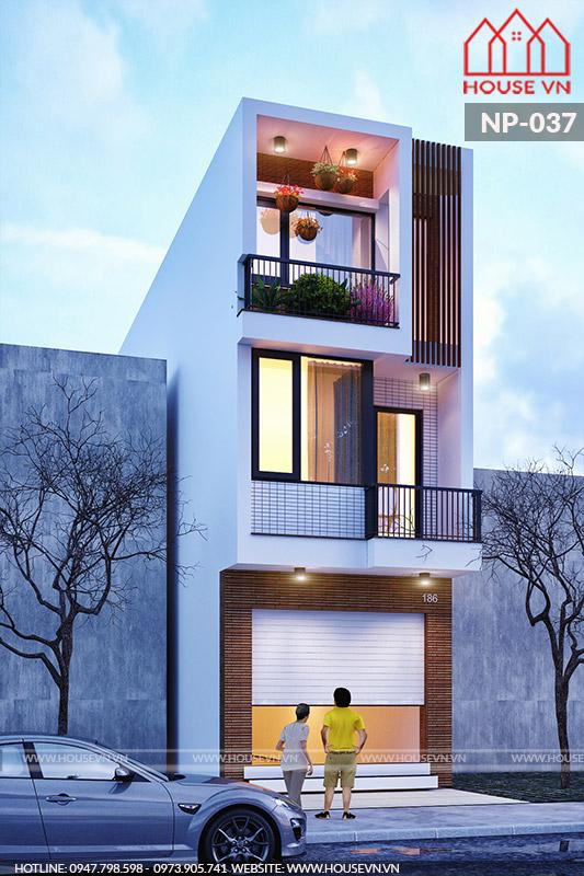 Toàn cảnh không gian ngoại thất của mẫu nhà 3 tầng.