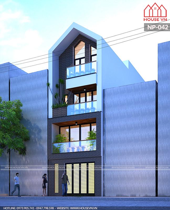 thiết kế nhà phố hiện đại 4 tầng mặt tiền 4m ấn tượng