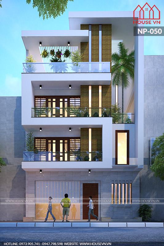 Thiết kế nhà ống mặt tiền 9m phong cách hiện đại và kiểu kiến trúc đặc trưng.