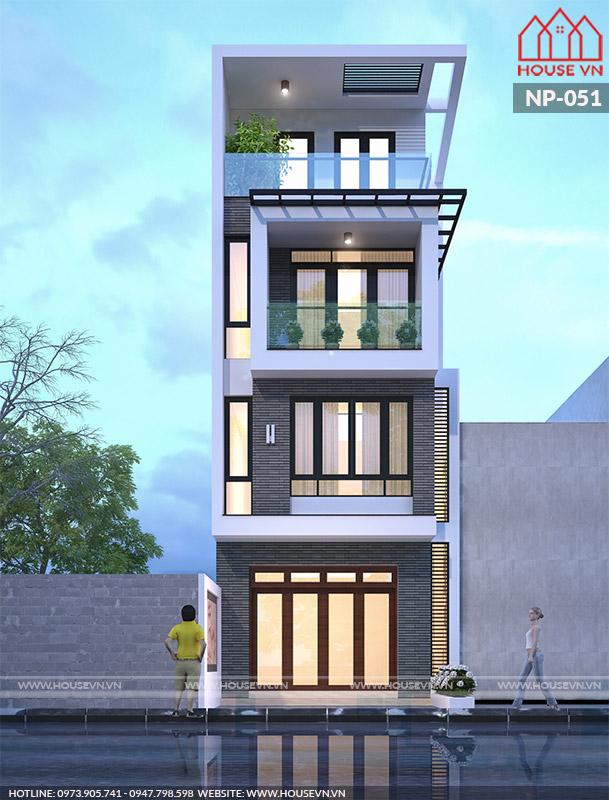 Ngôi nhà được thiết kế với tông màu khá ấn tượng, kiểu dáng độc đáo và được trang trí các vật liệu như  cây xanh ban công tạo điểm nhấn thú vị cho công trính kiến trúc nhà ống