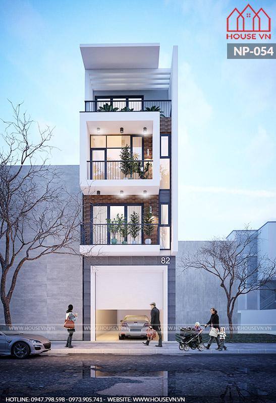 thiết kế kiến trúc nhà phố có gara ô tô đẹp hiện đại