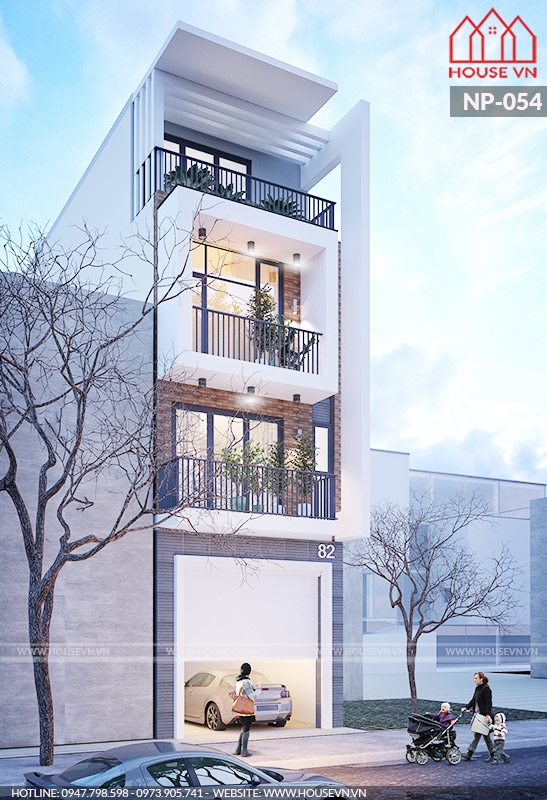 Thiết kế nhà ống 4 tầng kiến trúc hiện đại đẹp