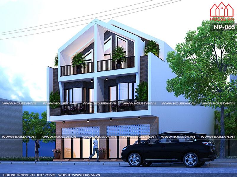 mẫu nhà hiện đại song lập 3 tầng mặt tiền 8m đẹp