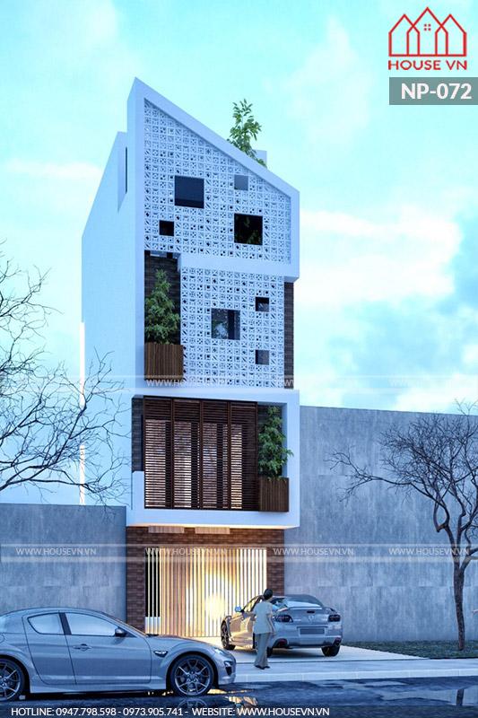 kiến trúc nhà phố hiện đại 4 tầng hình khối độc đáo