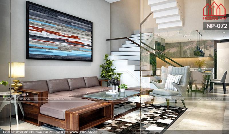 thiết kế nội thất phòng khách hiện đại cho nhà ống