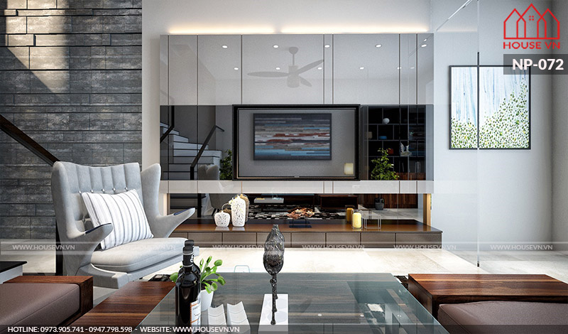 mẫu phòng khách hiện đại cho nhà phố 4 tầng đẹp nhất