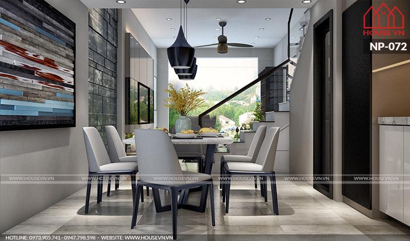 phòng bếp ăn hiện đại đẹp của nhà phố 4 tầng