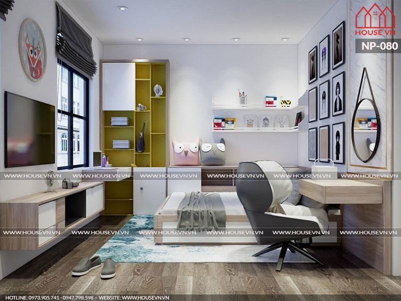 Mẫu thiết kế nội thất phòng ngủ nhà phố với gam màu tươi sáng dễ chịu cùng hệ thống cửa sổ tràn ngập ánh nắng và gió hợp lý