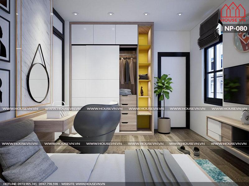 Toàn bộ không gian phòng ngủ nhà phố được đầu tư thiết kế nội thất hiện đại trẻ trung với gam màu hợp thời