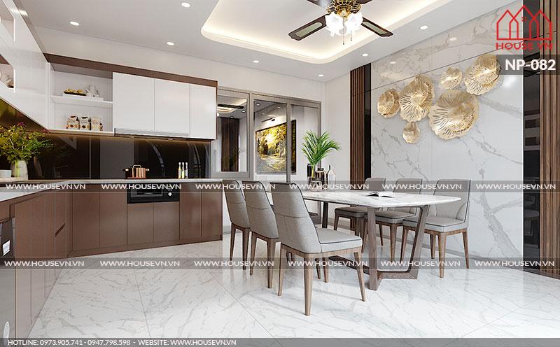 Góc view đẹp ấn tượng cho mẫu thiết kế nội thất bếp ăn