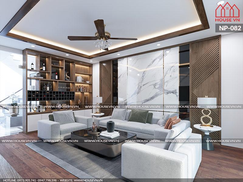Đơn giản và hài hòa trong từng chi tiết nội thất là những gì bạn có thể dễ dàng cảm nhận được trong không gian phòng khách này