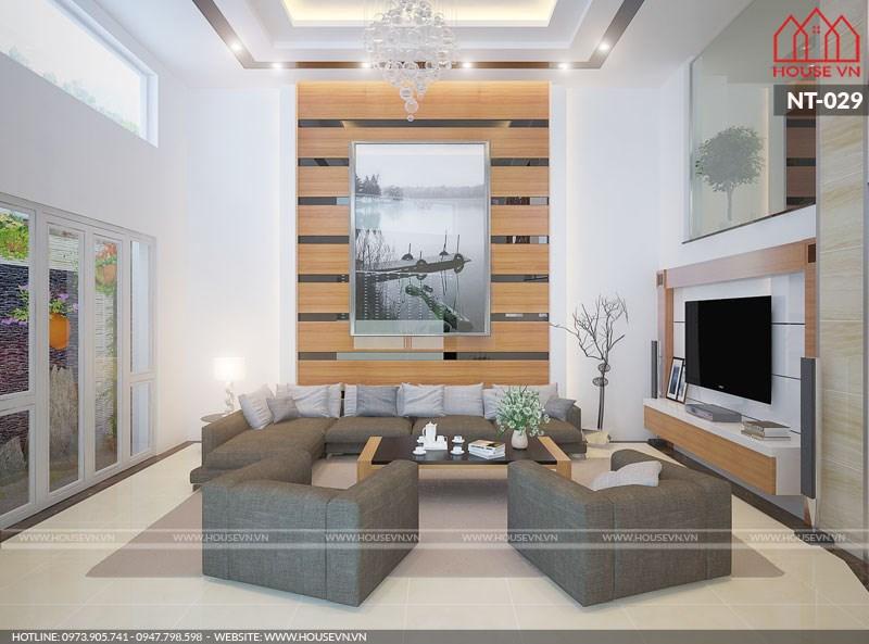 Phòng khách hiện đạithanh lịch với tông màu nhẹ nhàng tại Nam Định