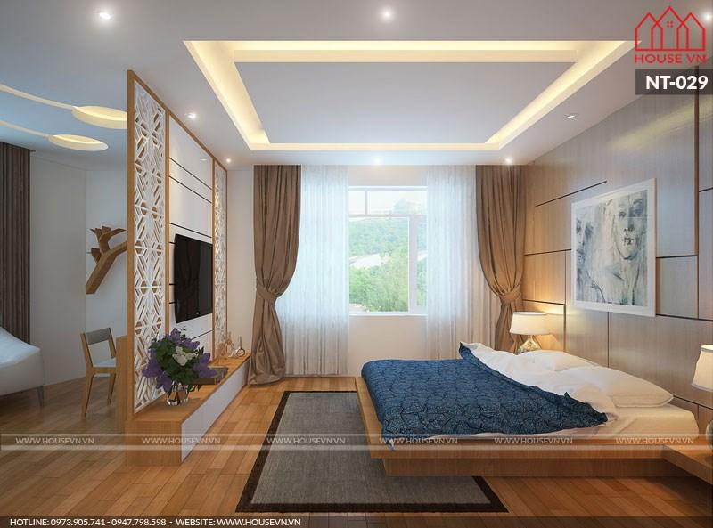 thiết kế phòng ngủ hiện đại đơn giản mà tiện nghi