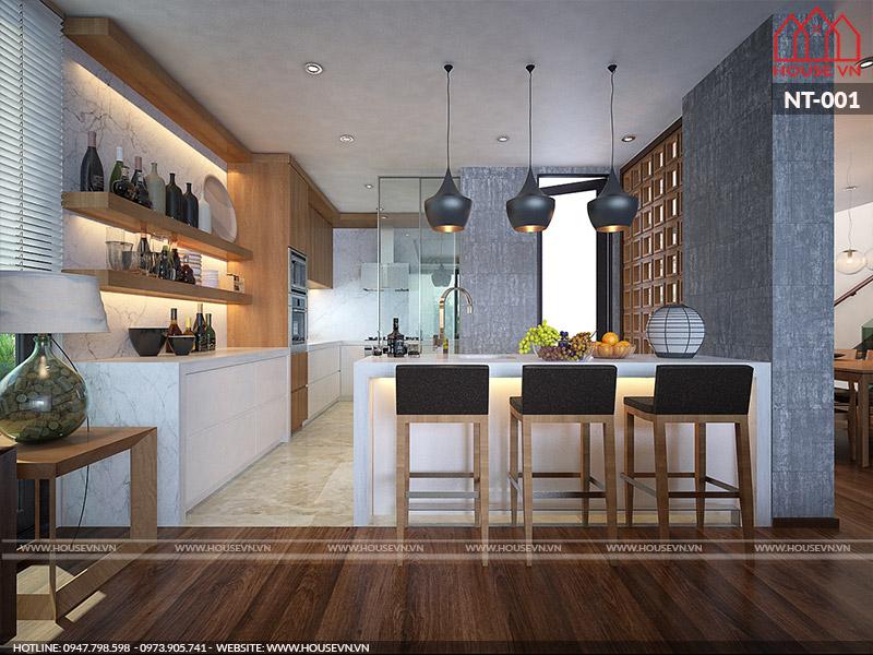 thiết kế phòng bếp hiện đại đơn giản tiết kiệm nhất