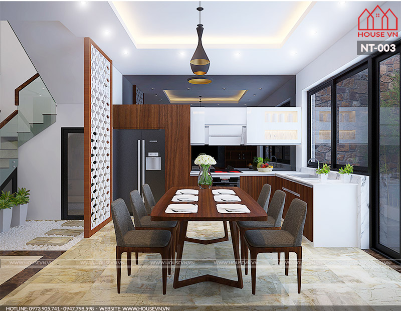 thiết kế phòng bếp ăn hiện đại