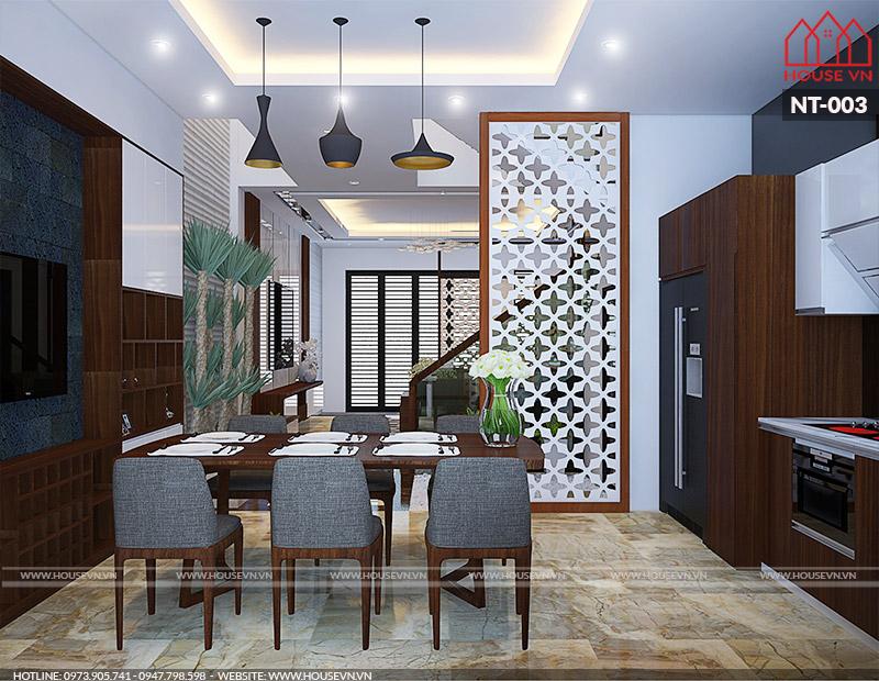 thiết kế nội thấ phòng bếp ăn hiện đại đẹp của housevn