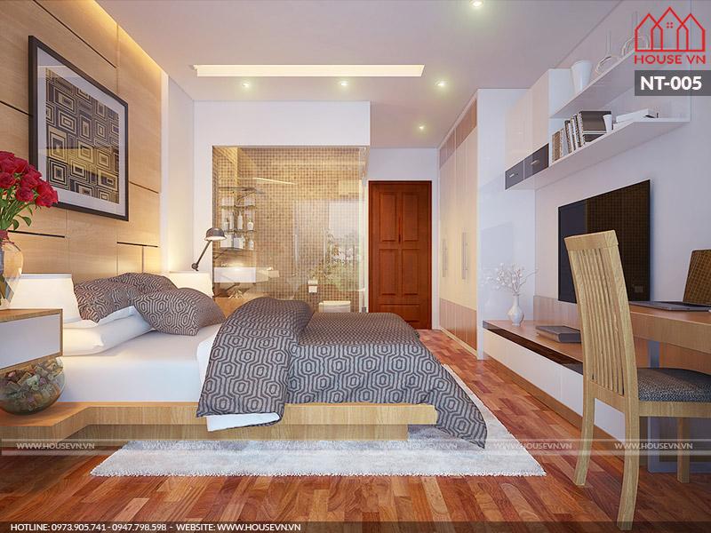 phòng ngủ hiện đại dành cho hai người có vệ sinh khép kín