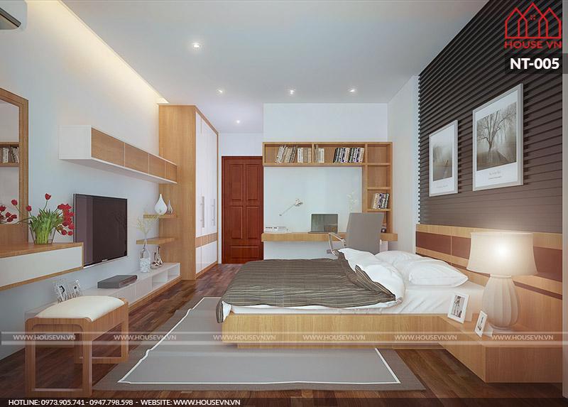 thiết kế nội thất phòng ngủ có vệ sinh tiện nghi