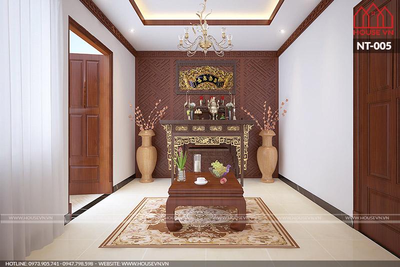 thiết kế phòng thờ đơn giản cho nhà ống