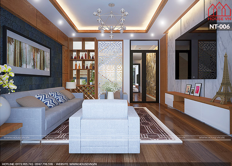 thiết kế nội thất phòng khách nhà ống hiện đại đẹp đơn giản