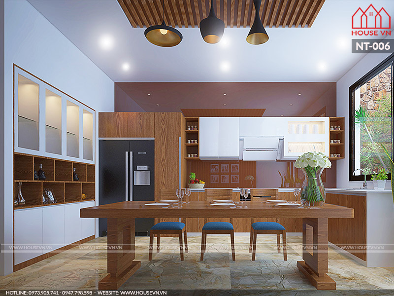 thiết kế nội thất phòng ăn và bếp gọn gàng