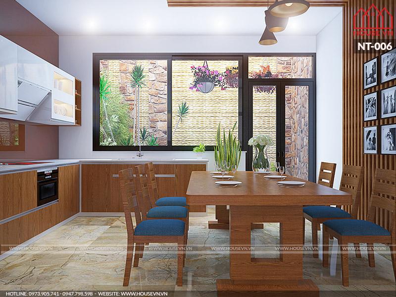 thiết kế phòng ăn và bếp bằng gỗ đẹp của Housevn